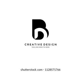 D Inside Isolated B Letter Logo Design