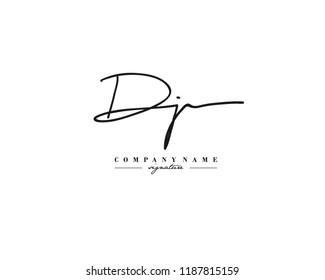 D J DJ Signature initial logo template vector