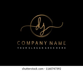 D J Initial handwriting logo vector