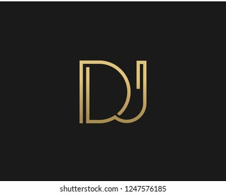 D J Unique Minimal Style golden and black color initial based logo