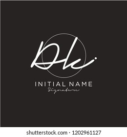 D K Signature initial logo template vector