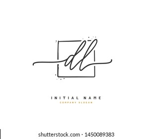 D  L DL Beauty vector initial logo, handwriting logo of initial signature, wedding, fashion, jewerly, boutique, floral and botanical with creative template for any company or business.