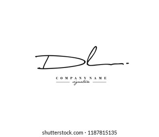 D L DL Signature initial logo template vector