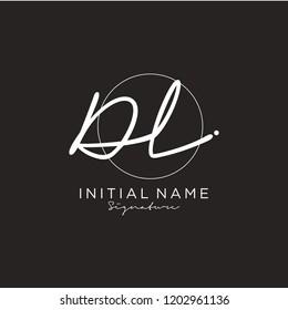 D L Signature initial logo template vector