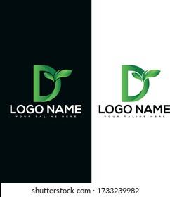 D leaf logo design,Nature green leaf symbol, Initials D icon design. D Logo and D Letter Icon Design Vector Illustration for company or website design.