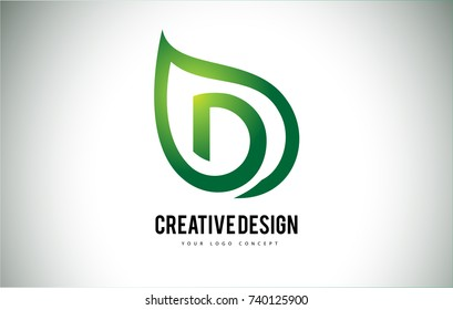 D Leaf Logo Letter Design with Green Leaf Outline Vector Illustration.