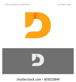 D Letter Alphabet Abstract vector text logo