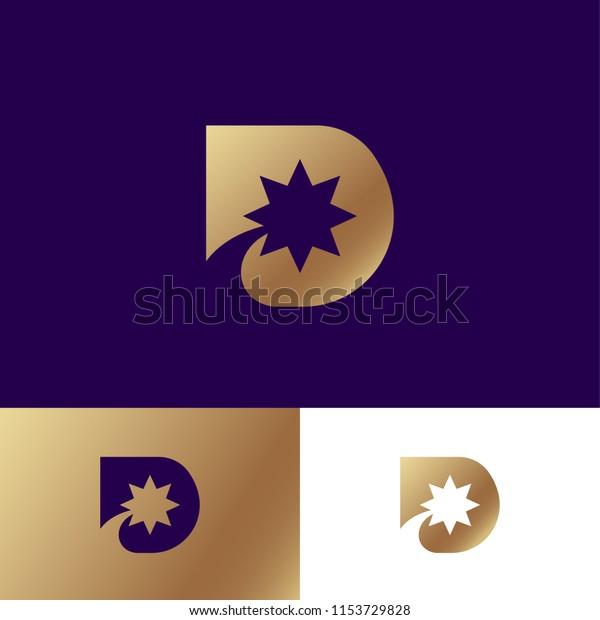 D Letter Gold D Monogram Star Stock Vector Royalty Free 1153729828