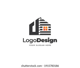D letter home logo vector, Modern tech logo design