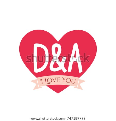 D And A Letter Inside Heart For St Valentines Day Design