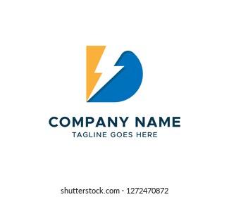 D Letter with Lightning Bolt Logo Vector Design