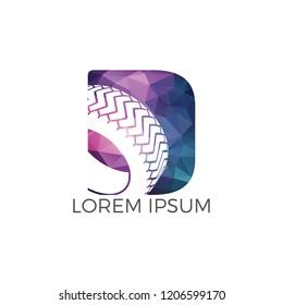 D letter logo car wheel logo design. Tyre company or tyre shop vector logo design.