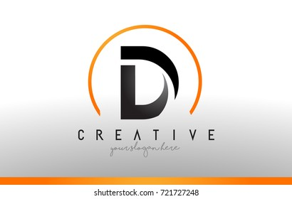 D Letter Logo Design with Black Orange Color. Cool Modern Icon Letters Logo Vector.