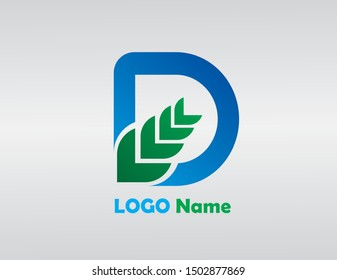 D Letter Logo Design with Blue Green Color. Cool Modern Icon Letters Logo Vector.