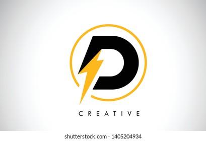 D Letter Logo Design With Lighting Thunder Bolt. Electric Bolt Letter Logo Vector Illustration.