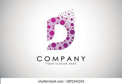 D Letter Logo with Dot or Circle Dispersion Bubble Effect. D Dotted letter in purple gradient vector illustration.