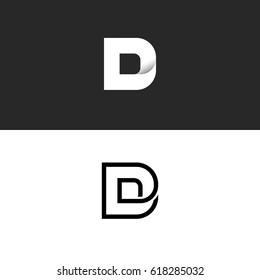D letter logo monogram, typography design element mockup, combination linear and gradient style logotype, elegant business card idea emblem, black and white gradient.