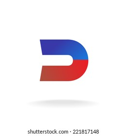 D letter logo template. Blue and red colors magnet concept.