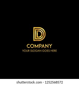D letter luxury gold logo