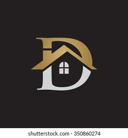 D letter roof shape logo gold black background