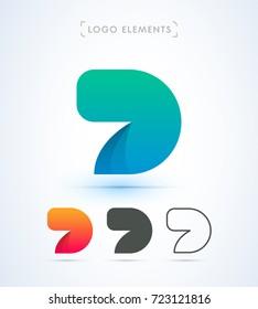 D letter vector logo. Material design, flat, line art style