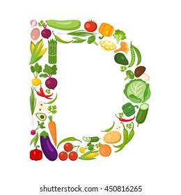 D letter from vegetables.