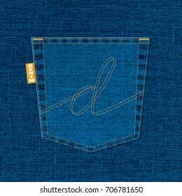 D Lettering with Blue Denim Cotton Jeans Pocket and Orange Tag on Realistic Vector Texture.