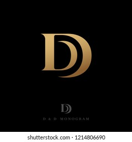 D and D letters. Monogram consist of gold Double D, isolated on a dark background. The vintage style.