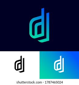 D letters on different backgrounds. Double D monogram consist of gradient elements. This logo can be used for business, hi-tech production, sport, games, web and digital.