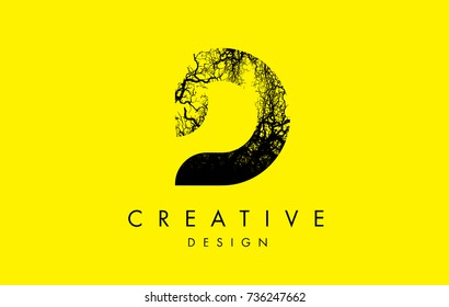 D Logo Letter Made From Black Tree Branches. Tree Letter Design with Minimalist Creative Style.