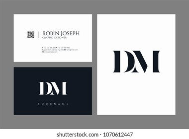 D M, D & M Alphabet joint logo icon with business card vector template.