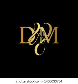 D & M / DM logo initial vector mark. Initial letter D & M DM luxury art vector mark logo, gold color on black background.