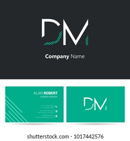 D & M joint logo stroke letter design with business card template
