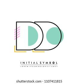 D D Memphis letter style, initial logo template vector full color.