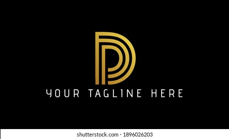 D monogram logo.Abstract golden typographic icon with script letter d.Lettering sign isolated on Black background.calligraphic alphabet initial.Modern, elegant style.
