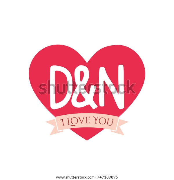 D N Letter Inside Heart St Stock Vector Royalty Free 747189895