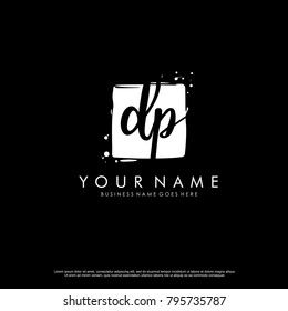 D P initial square logo template vector