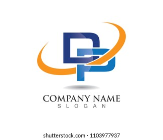 D and P logo template vector
