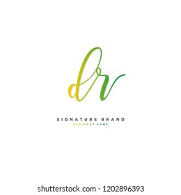 D R DR Initial letter handwriting and  signature logo concept design
