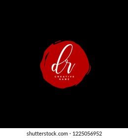 D R DR Initial logo template vector