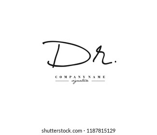 D R DR Signature initial logo template vector