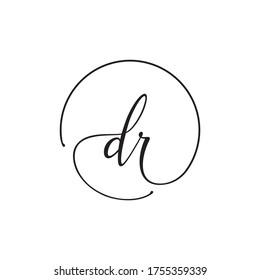 D R lowercase letter handwriting circle logo design vector
