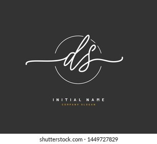 D S DS Beauty vector initial logo, handwriting logo of initial signature, wedding, fashion, jewerly, boutique, floral and botanical with creative template for any company or business.