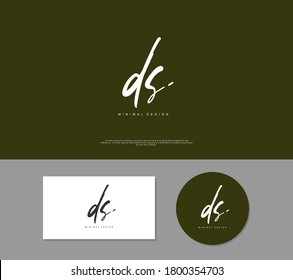 D S DS Initial handwriting or handwritten logo for identity. Logo with signature and hand drawn style.