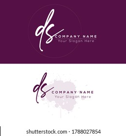 D S DS Initial letter handwriting and signature logo. Beauty vector initial logo .Fashion, boutique, floral and botanical