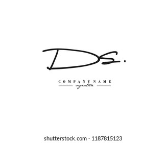 D S DS Signature initial logo template vector