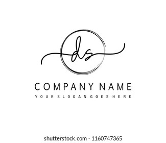 D S Initial handwriting logo vector
