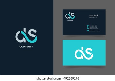 D S Letter logo, with Business card template