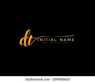 D T Initial handwriting logo vector. Hand lettering for designs.