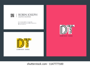 D & T Joint logo icon with business card vector template.